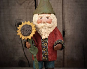 Gnome with Sunflower~ OOAK~ Folk Art Gnome