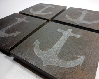 Nautical Anchor Coasters - 4 Carved Stone Coasters - Handmade Etched Slate Beach Coasters Set - Pirate Nautical Home Decor Gift for Sailor