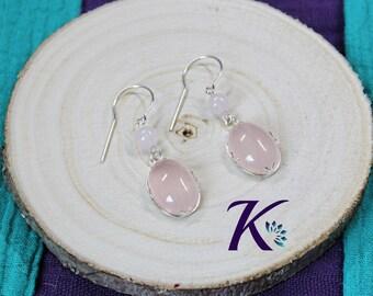 Earrings Silver 925 beads gemstones: Rose Quartz
