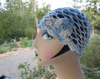 Teen Blue Cotton Summer Cloche Hat Crocheted by SuzannesStitches, Blue Cotton Summer Hat, Women's Blue Cotton Summer Hat, Girl's Summer Hat