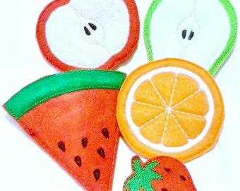Felt play food - pretend food - play kitchen food - Vegetarian fruit - 5 piece set - Pretend food kids play kitchen #PF2558