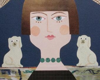 Carrington, Grußkarte, Bloomsbury Frau, Naive Kunst, Collage, Portrait der Künstler, Bloomsbury Group, Amanda White Design, China Hunde