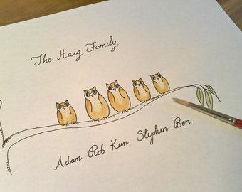 Wise owl custom family painting