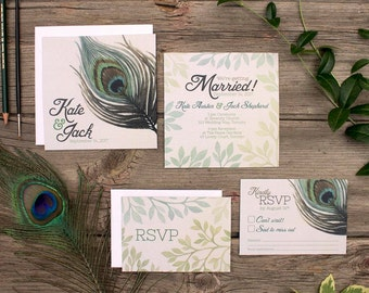 Peacock Feather Wedding Invitation Design - SAMPLE - Peacock Wedding Theme - Peacock Invitations - Wedding Stationery by Alicia's Infinity