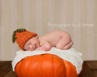 READY TO SHIP Pumpkin Hat-(Orange or Pumpkin, Brown and Green)
