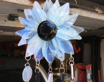 WIND CHIME - Stained Glass Black and White Flower Windchime