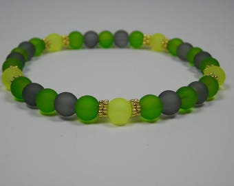 Green, Grey and Yellow Sea Glass Bracelet