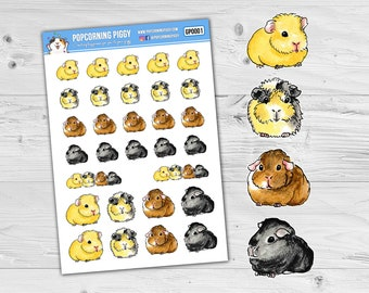 Guinea Pig Stickers - Assorted - Watercolour Style - Planner Stickers (GP0001)