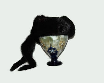 70's Turkisatelje Bielica mink fur hat, Made in Finland