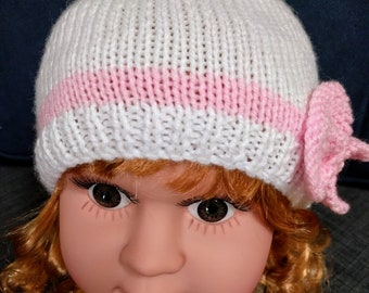 """Hat Set """"B"""" 6-9/9-12 mos., Baby Shower Gift, Baby Hats, Baby Girl Hats, Hand Knit Baby Hats, Baby Hat Pair, Yarn Baby Hats, Baby Gift"""