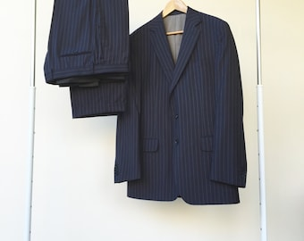 SUPER SALE men's vintage blue suit, wool vintage suit, striped blazer jacket