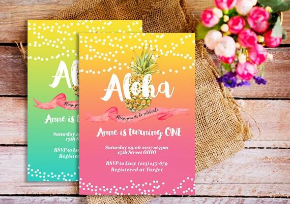 Aloha invitación, aloha primer cumpleaños invitación, invitaciones de Luau  Tropical, pink aloha invitación, amarillo tropical aloha piña invita