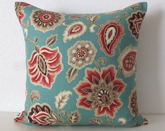 Atherton Costal Floral Teal Red Metallic Gold Pillow Cover
