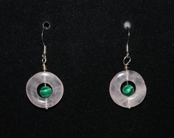 Rose Quartz and Malachite Earrings