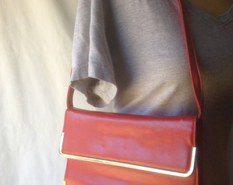 Vintage Red Faux Leather 1950s Handbag Clutch, Shoulder Bag, Markay Bags, Gold Trim