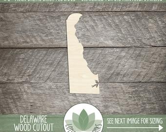 Delaware, Unfinished Wood Delaware Laser Cut Shape, DIY Craft Supply, Many Size Options, Blank Wood Shapes