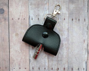 Drum Key Holder Key Chain, Opens to Hold Drum Key, Embroidered Vinyl in 31 Colors with Snap, Made in USA, Musician Drummer Key Fob Gift