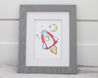 Rocket Nursery Print, Nursery Decor, Space Theme, Kids Bedroom