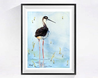 Coastal Shorebird, Prints, Christmas Time Sale, Bird art prints, Shorebird painting, Watercolor, beach landscape, Beach wall art, wall decor
