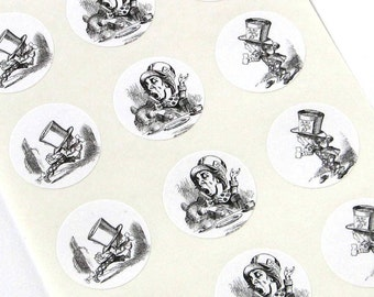 Mad Hatter Alice in Wonderland Stickers - One Inch Round Seals