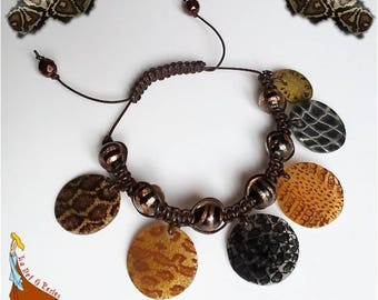 "Braided bracelet beads and charms patterns snake ""Reptile"" brown black and gold"