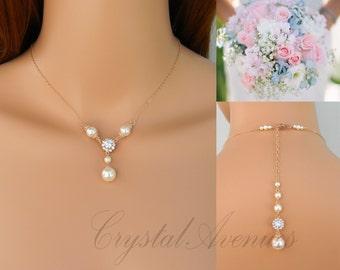 Rose Gold Necklace SET, Backdrop Delicate Wedding Necklace, Bridal Earrings, Swarovski, Pearl Drop,  Maleah Bridal Jewelry SET
