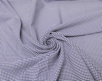Keira ROYAL BLUE Mini Checkered Poly Poplin Fabric by the Yard - 10048