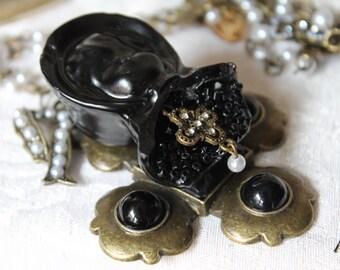 Antique Bronze Black Porcelain Doll Crucifix Relic Rosary Choker Necklace, Lolita