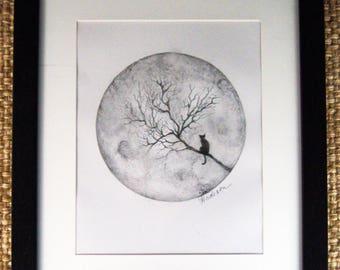 OOAK framed cat tree moon pencil drawing by Angela Anderson