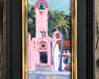 California Plein Air Landscape Oil Painting Original Art San Francisco Bay Area San Rafael Church Pink California Artist USA Made Artwork