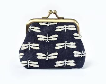 Kiss Lock Coin Purse Dragonfly Indigo Metal Frame Clasp Purse- Small Kisslock Coin Purse- Traditional Japanese- Gamaguchi- Gift for Women