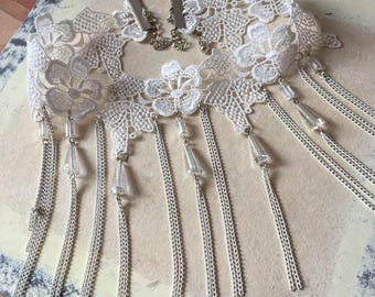 Floral Lace Choker Gatsby Victorian White Lace Crystal  Bead Choker Wedding Jewelry Necklace