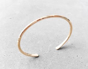 Carved Tribal Cuff Bracelet / 14k gold fill / modern minimal everyday layering bangle / staple jewelry