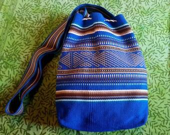 Medium Woven Pouch - Blue/Brown/Gray Weaving - Kamentsa Tribe (Colombia)