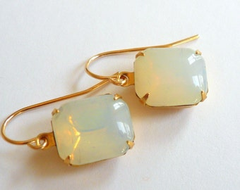 White opal moonstones earrings Opal earrings October birthstone earrings Opal dangles Square opals Square moonstones 14k gold fill dangles