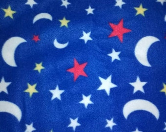 Blue Moons and Stars Fleece Fabric