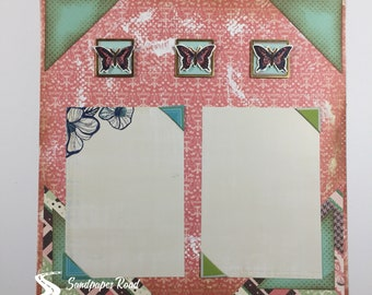 SPRING 12 x 12 scrapbook page (pre-made) - butterflies 3