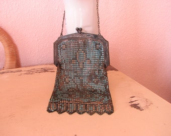 Art Deco Mesh Purse with Blue and Peach Enamel