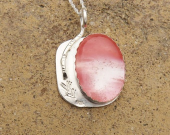 S-129 Cherry Quartz Sterling Silver Silversmith Pendant Necklace, Cherry Quartz Pendant, Metalsmith, Cherry Quartz Jewelry
