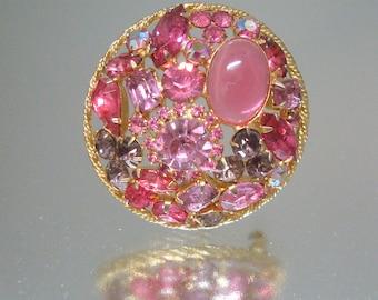 Fabulous Pink Rhinestone Circle Brooch Pin