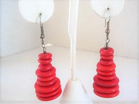 Red Wood Drop Earrings, Retro Red Discs, Ear Wire Pierced, Dangle Earrings