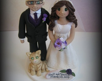 Wedding Cake Topper, Custom Wedding Topper, Bride, Groom and Pet, Anniversary Cake Topper, Personalized, Polymer Clay, Keepsake
