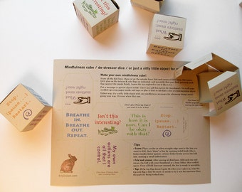 Printable zen box with mindfulness affirmations. 2 x 2 x 2 inches. Can be used as a small gift box, or a mindfulness object for your desk.