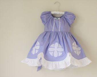 Sofia the First- Cotton Princess Dress- Everyday Princess Dress- Sofia Inspired Dress