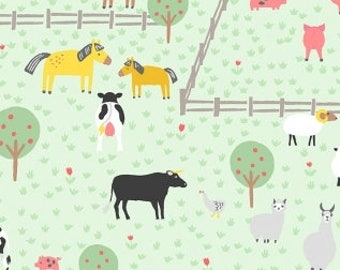 QUILTING COTTON: Dear Stella Animal Farm Fabric. Sold by the 1/2 yard