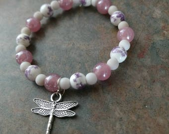 Girls Elastic Bracelet Made With White and Pink and Purple Marbled Pearls and Adorned with a Pewter Dragonfly Charm -Delicate Girls Bracelet