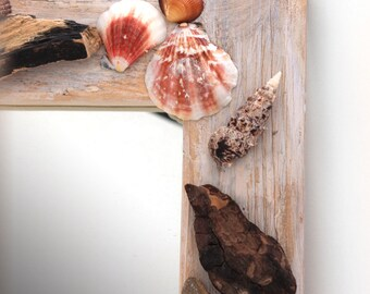 Nautical theme mirror - recycled pine, seashells