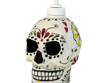 Day of the Dead Sugar Skull Ceramic Skull Dispenser for Soap or Lotion Dia de los Muertos Celebrations Mexican Folk Art Design