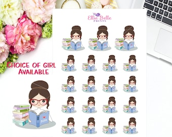 BOOK READING - Girl Collection    Decorative Stickers    Planner Stickers   Happy Planner, Erin Condren, Plum Planner