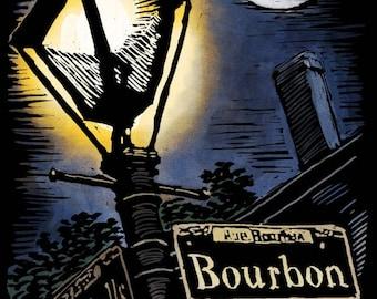 New Orleans, Louisiana - French Quarter - Bourbon Street - Scratchboard - Lantern Press Artwork (Art Print - Multiple Sizes Available)